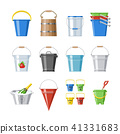 Bucket vector bucketful or wooden pailful and kids plastic pail for playing empty or with water 41331683