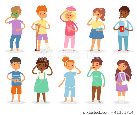 Sick kids vector child with headache and temperature and children catching a cold or flu 41331714