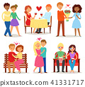 Couple in love vector lovers characters in lovely relationships on loving date together on 41331717