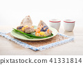 Rice dumplings or zongzi with tea 41331814