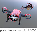VTOL快遞無人機後面的金屬紅色。超快速交貨的概念。 41332754