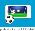 Soccer ball and goal on a smartphone screen.  41333442