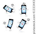 Set of cute cartoon smartphone playing football.  41333443