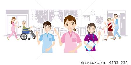 老人院和关心工作者的例证 41334235