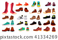 Footwear Set Vector. Fashionable Shoes. Boots. For Man And Woman. Web Icon. Flat Cartoon Isolated 41334269
