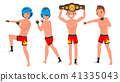 MMA Male Player Vector. Poses Set. Muscular Sports Guy Workout. In Action. Cartoon Character 41335043