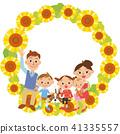 家庭一起坐向日葵 41335557