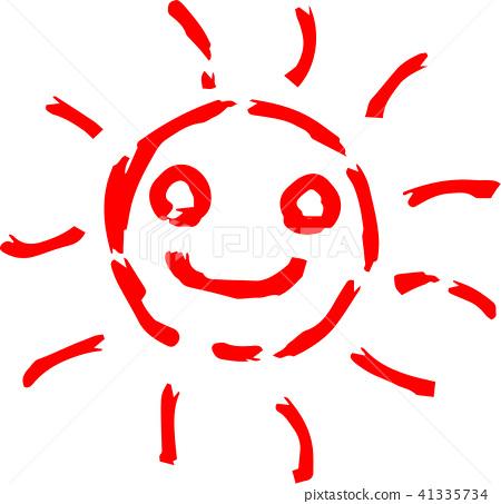 여름 태양 붉은 손으로 그린 일러스트 41335734