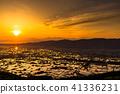 """""""富山縣""""稻田的早晨景觀和水彩的礪波平原""""從Ouyoyama"""" 41336231"""