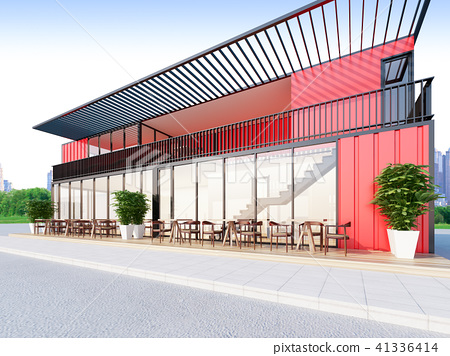 Shipping Container Restaurant with red color 41336414