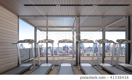 luxury fitness center with city view ,3d rendering 41336416