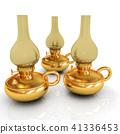 Old retro vintage golden kerosene lamp. 3d render 41336453