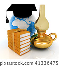 Leather books, Earth, kerosene lamp,graduation hat 41336475