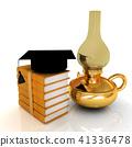 Leather books, kerosene lamp and graduation hat 41336478