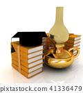 Leather books, kerosene lamp and graduation hat 41336479