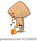With trumpet inocybe mushroom mascot cartoon 41336693