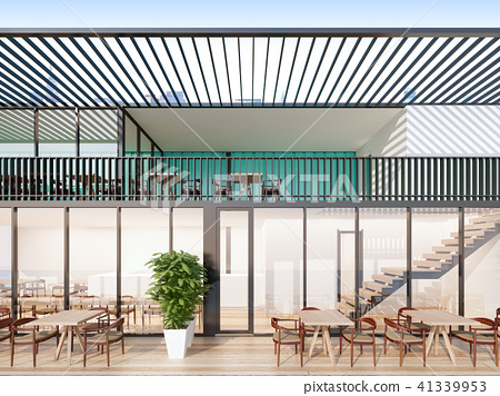 Two-story containers restaurant , 3d rendering 41339953