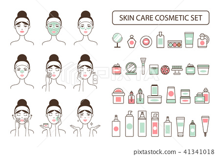 Skin Care Cosmetic Set on Promo Poster with Woman 41341018