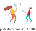 Mother and Daughter Playing Badminton Illustration 41342106