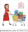 Shopping Fun For Everyone. Cartoon Woman with Cart 41342713