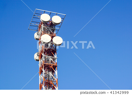 telecommunication tower with the blue sky  Cell Phone Signal Tower