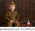 childr are soldier in retro military uniform  41346523