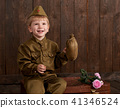 childr are soldier in retro military uniform  41346524