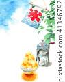 鯊魚冰和樹枝和藍天熱的夏天明信片 41346792