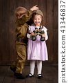 children as soldier in retro military uniform 41346837