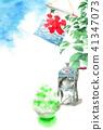 빙수와 나뭇 가지와 푸른 하늘 여름 안부 엽서 41347073