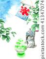 빙수와 나뭇 가지와 푸른 하늘 여름 안부 엽서 41347074