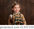 child girl are dressed as soldier in retro uniform 41347150