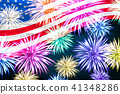 Aerial fireworks display behind a fluttering USA 41348286