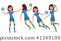 Handball Female Player Vector. Playing In Different Poses. Woman. Attack Jump. Shooting Player 41349109