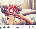 Unlock concept with person using laptop computer 41351150