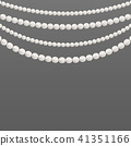 Creative vector illustration of pearl glamour beads. Art design borders necklace patterns. Abstract 41351166