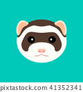 Cute ferret muzzle. Vector flat design illustration. 41352341