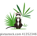 Gray ferret in full growth sits in tropical leaves. Vector illustration. 41352346