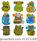 Backpack camp vector backpacking travel bag with tourist equipment in hiking camping and climbing 41353168