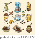 Coffee set coffeebeans and coffeecup vector drink hot espresso or cappuccino in coffeeshop and mug 41353172