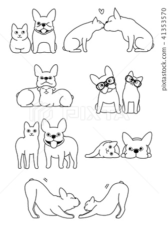 Dog And Cat Pair Gesta Set 2 Line Drawing