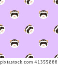 Seamless pattern with cute ferret muzzle. Vector flat design illustration. 41355866