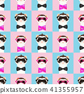 Ferret girl and boy portrait with glasses. Seamless pattern. Vector illustration. 41355957