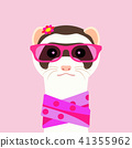 Ferret girl portrait with pink glasses and scarff. Vector illustration. 41355962