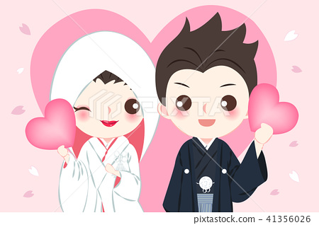 cartoon japanese wedding couple 41356026