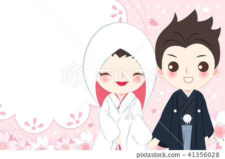 cartoon japanese wedding couple 41356028