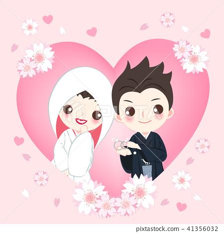 cartoon japanese wedding couple 41356032
