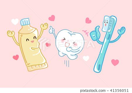 cartoon tooth dental care 41356051