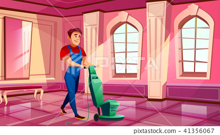 Ballroom of palace hall cleaning vector illustration 41356067
