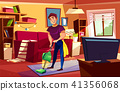Man cleaning living room vector illustration 41356068